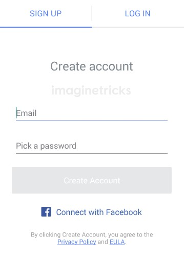 Sign up Account with email and password