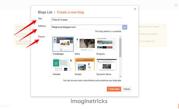 Enter Your Blog Details