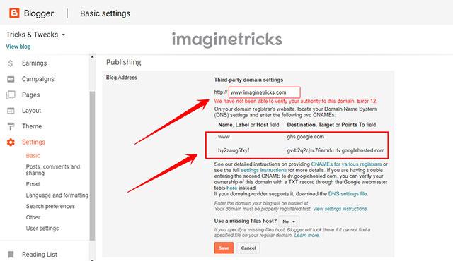 Setup Domain on Blogspot