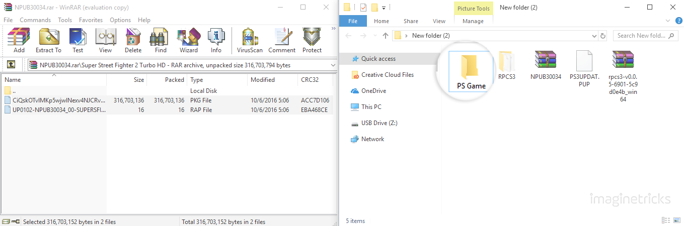 "Extract zip file into ""PS Game"" folder"